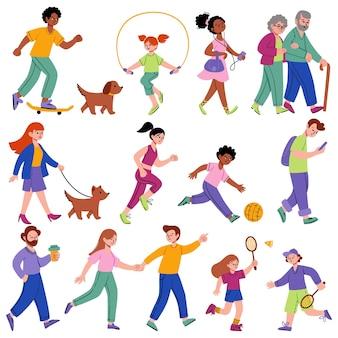 Set van groep verschillende mensen buitenactiviteiten in platte vectorstijl