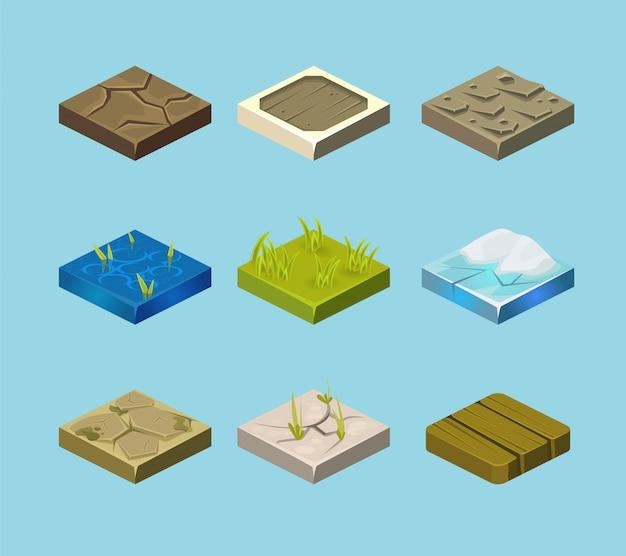 Set van grondoppervlakken. gras, rotsen en water. landschap webontwerp.