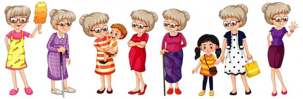 Set van grootmoeder in verschillende kostuums