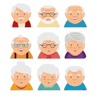 Set van grootouders gezicht