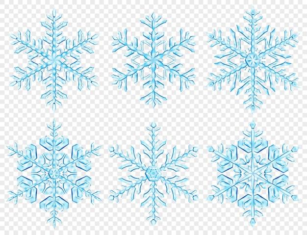 Set van grote complexe doorschijnende kerst sneeuwvlokken in lichte blauwe kleuren, geïsoleerd op transparante achtergrond. transparantie alleen in vectorformaat
