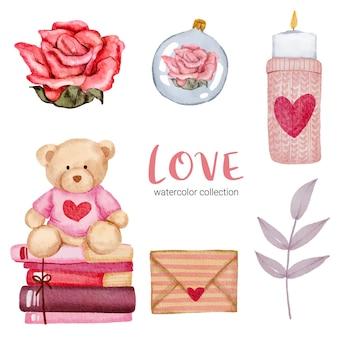 Set van grote geïsoleerde aquarel valentijn concept element mooie romantische rood-roze harten voor decoratie, illustratie.