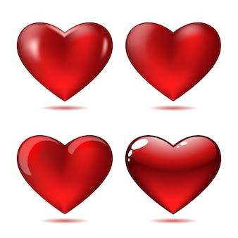 Set van grote rode harten