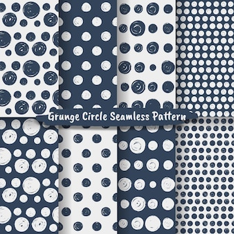 Set van grunge cirkel penseelstreken geometrische naadloze patroon