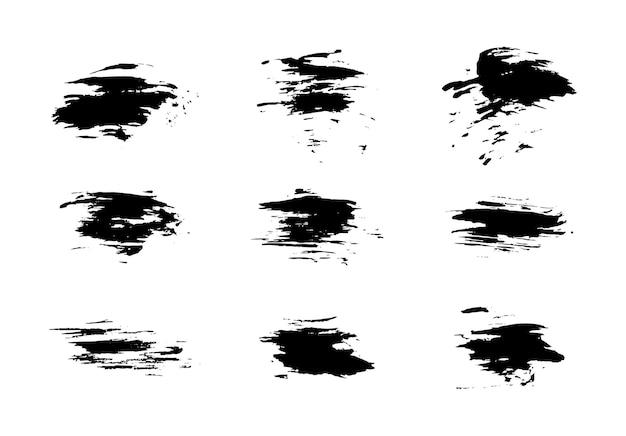 Set van grunge penselen lijnen penseelstreken met een droge borstel. abstracte inktvlekken