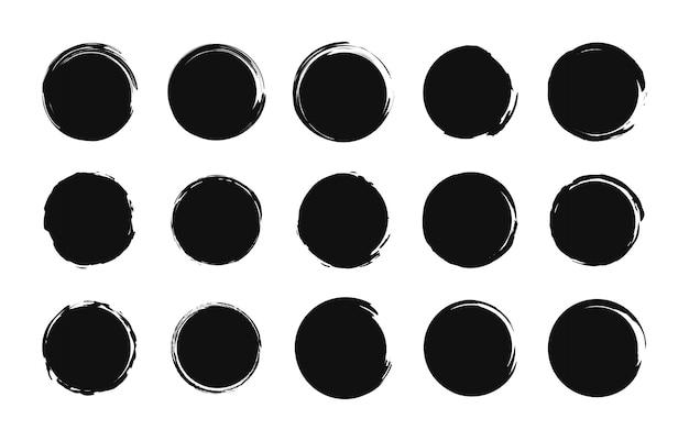 Set van grunge postzegels. verkoop tags. boodschappen doen. ronde banners, dozen, kaders, logo's, pictogrammen, labels, badges. borstel cirkel. illustratie.