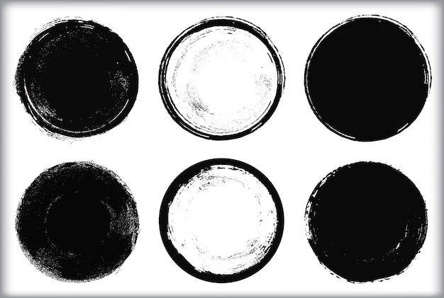 Set van grunge ronde frames