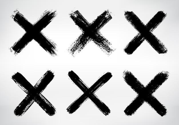 Set van grunge x-teken