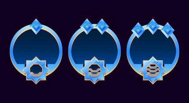 Set van gui afgeronde gouden en glanzende diamanten randkader avatar met klasse geschikt voor space game ui asset-elementen