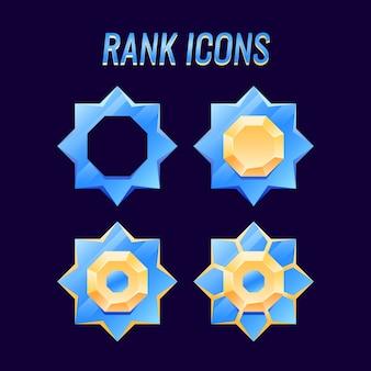 Set van gui gouden en diamanten rangmedailles pictogram, perfect voor game ui asset-elementen