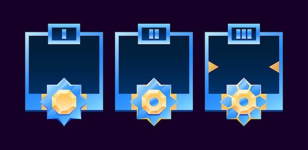 Set van gui gouden en glanzende diamanten randkaderavatar met rang geschikt voor ruimtegame ui-activa-elementen