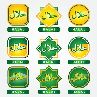 Set van halal labels premium vector