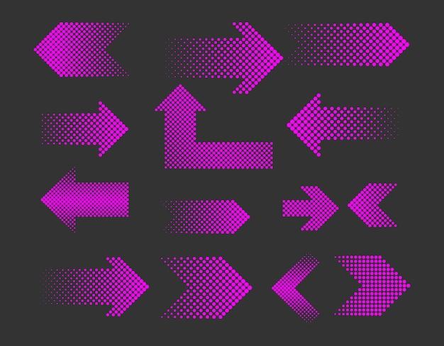 Set van halftone pijl