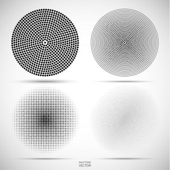 Set van halftone ronde van de zwarte stippen op grijs