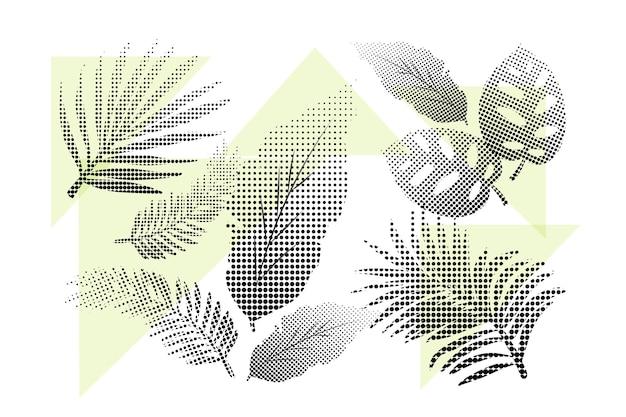 Set van halftoon groene tropische bloemen en bladeren