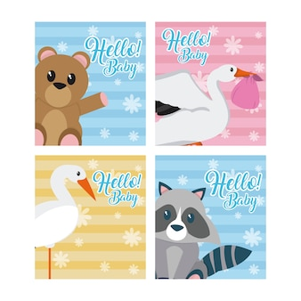 Set van hallo baby-kaarten