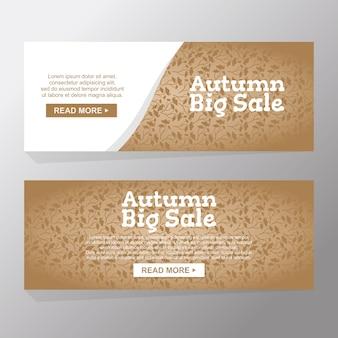 Set van hallo herfst natuur grote verkoop banners