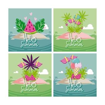 Set van hallo zomer kaarten