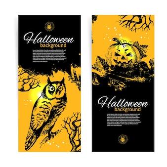 Set van halloween-banners. handgetekende illustratie