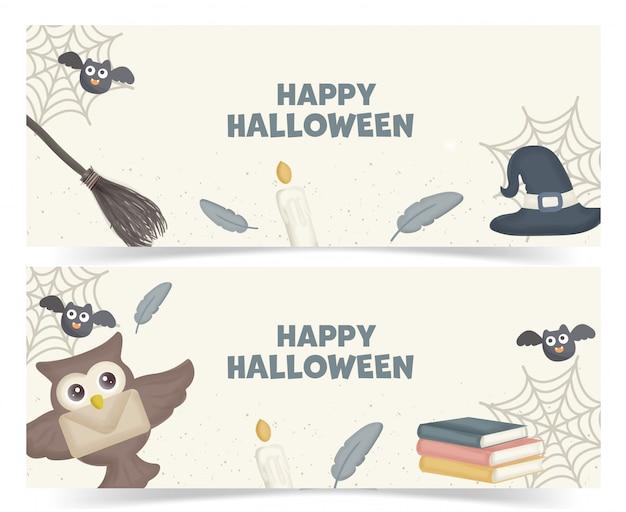 Set van halloween-banners met schattige uil en magische elementen.
