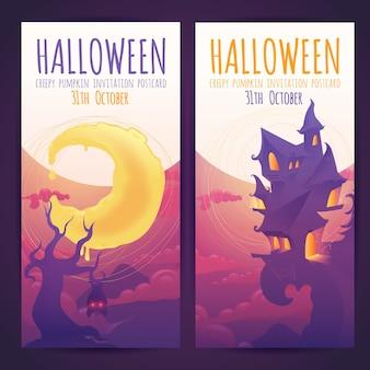 Set van halloween banners met spookachtig achtervolgd huis