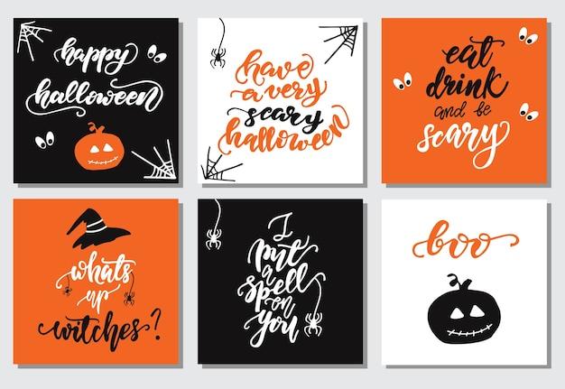 Set van halloween belettering kaartontwerpen. vector illustratie.