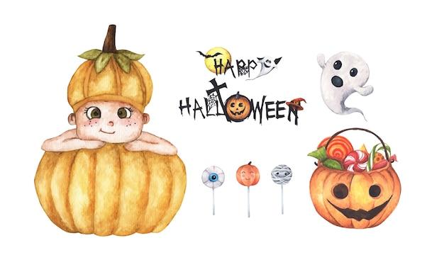 Set van halloween-decoraties. aquarel elementen op een witte achtergrond.
