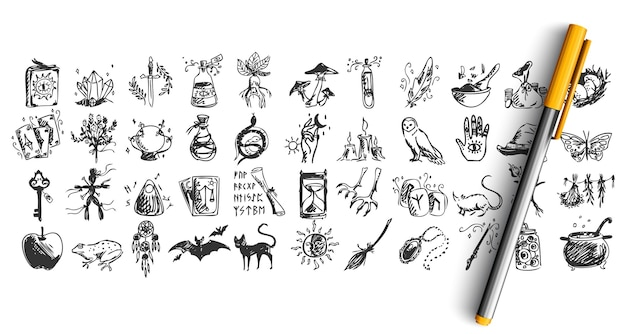 Set van halloween doodle geïsoleerd op wit