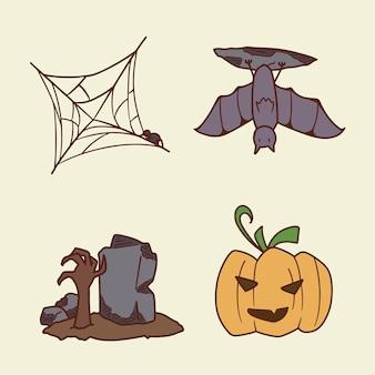 Set van halloween hand tekenen op illustratie