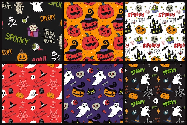 Set van halloween naadloze achtergrondpatroon