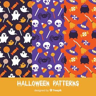 Set van halloween patronen in platte ontwerp