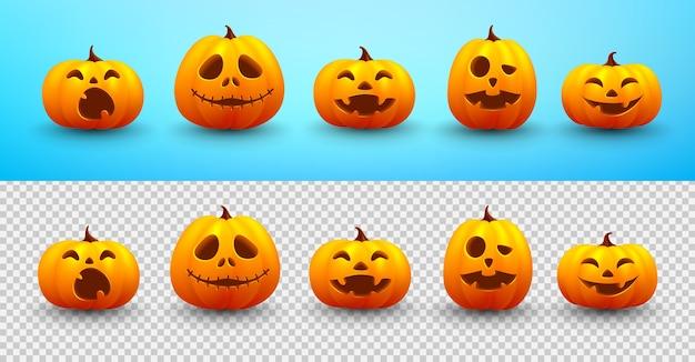 Set van halloween-pompoen op blauw en transparant