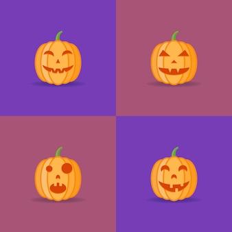 Set van halloween pompoenen met verschillende gezichtsuitdrukkingen