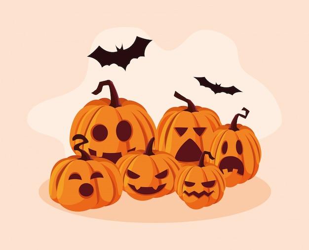 Set van halloween pompoenen met vleermuizen vliegen