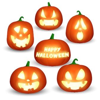 Set van halloween pompoenen