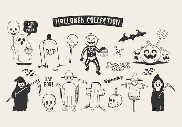 Set van halloween schets doodle stripfiguur.