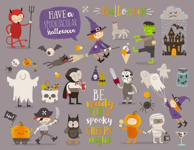 Set van halloween teken, symbool, objecten, items en stripfiguren. illustratie.