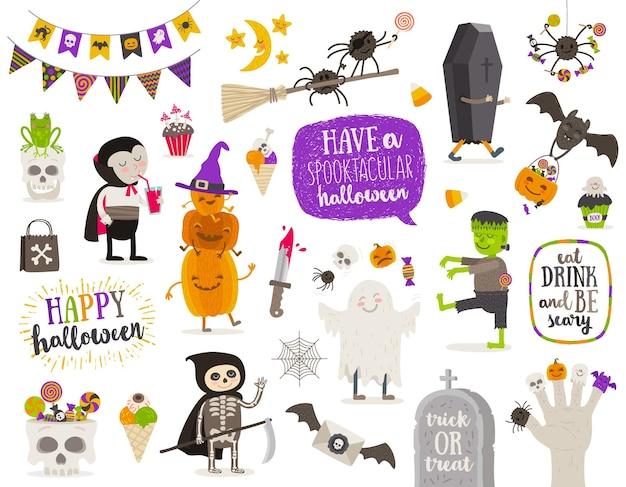 Set van halloween teken symbool objecten items en stripfiguren Premium Vector