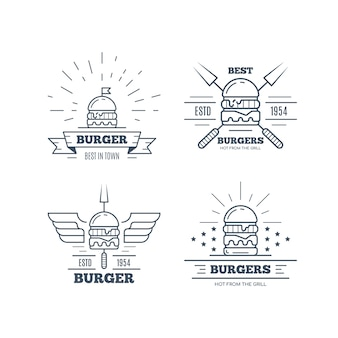 Set van hamburgers badge ontwerp geïsoleerd op een witte achtergrond