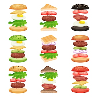 Set van hamburgers en sandwiches met vliegende ingrediënten. lekker fastfood. heerlijke snack. plat ontwerp voor mobiele app of café-menu