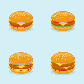 Set van hamburgers. hamburger, cheeseburger, beefburger, dubbele burger.