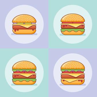 Set van hamburgers in platte lijnstijl.