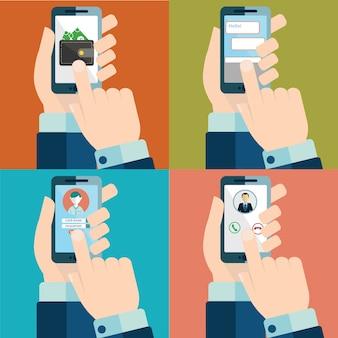 Set van hand aanraken smartphone scherm