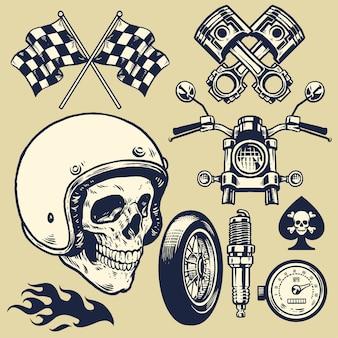 Set van hand gemaakt op vintage motorfiets element en schedel