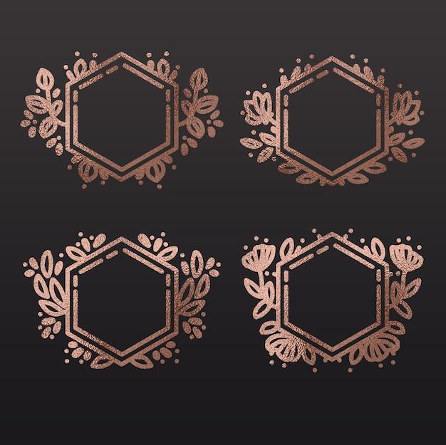 Set van hand getekende elegante zeshoek frames