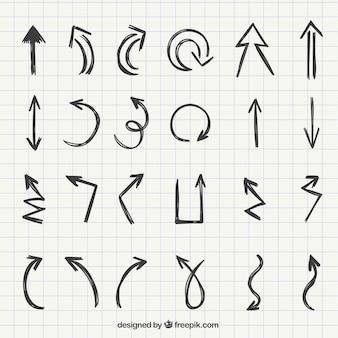 Set van hand getekende pijlen