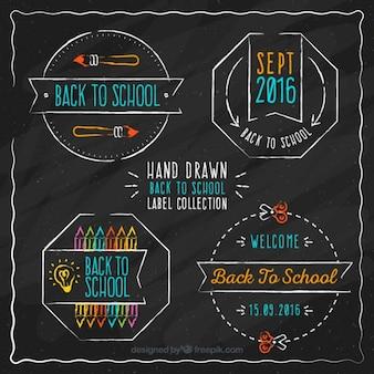 Set van hand getekende stickers voor terug naar school