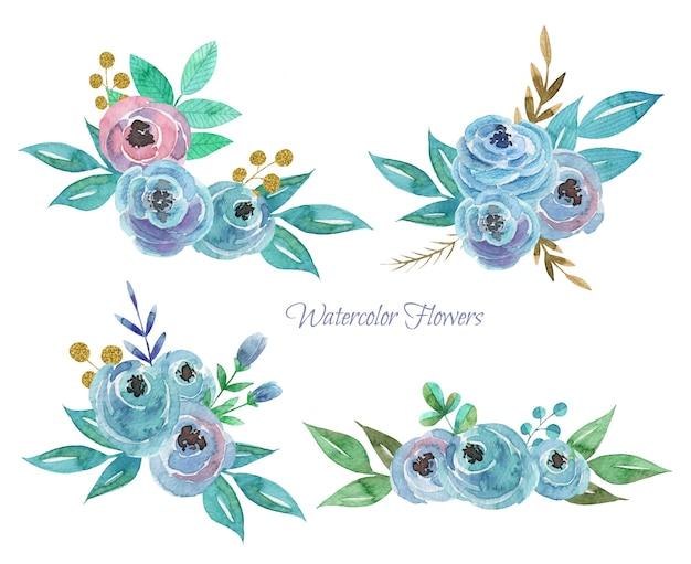 Set van hand getrokken aquarel bloemen composities