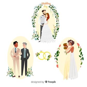 Set van hand getrokken bruidspaar