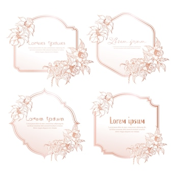 Set van hand getrokken floral frame. geometrisch frame met hand getrokken bloem, botanische samenstelling